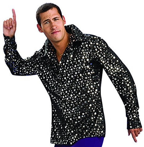 Rubie's Costume Co Men's Adult Costume Disco Shirt, Black/Silver, Large
