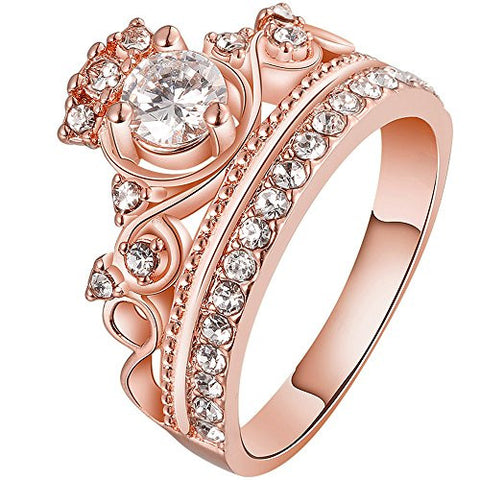 BOHG Jewelry Womens 18K Rose Gold Plated Fashion Cubic Zirconia CZ Princess Crown Tiara Ring Wedding Band Size 7