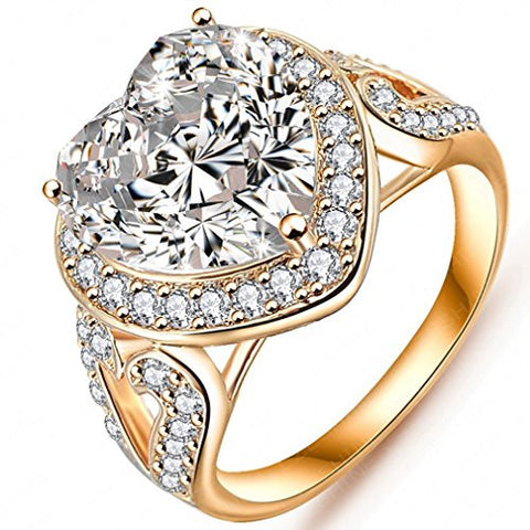 FENDINA Womens Love Heart CZ Crystal Wedding Engagement Rings Gorgeous Promise Rings for Her - 18K Gold Plated - Luxurious Series 328