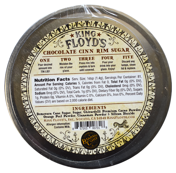 King Floyd's® ~ Chocolate Cinn Rim Sugar ~ 3.5oz