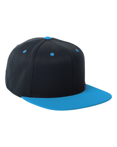 Teal on Black, Flex-Fit, Wool Blend, Two-Tone, Snap Back, 110 Hat