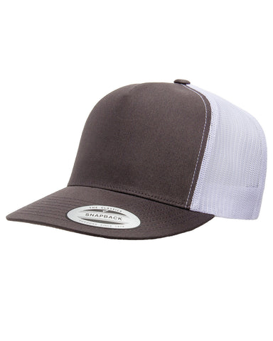 Charcoal on White 5 Panel Classic Trucker Snap Back