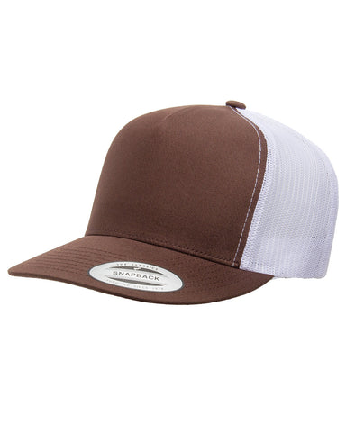 Brown on White 5 Panel Classic Trucker Snap Back