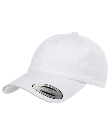 White, Dad Hat, Low-Profile, Cotton Twill, Brass Buckle