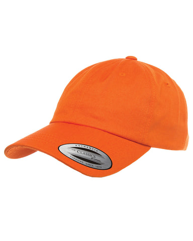 Orange, Dad Hat, Low-Profile, Cotton Twill, Brass Buckle