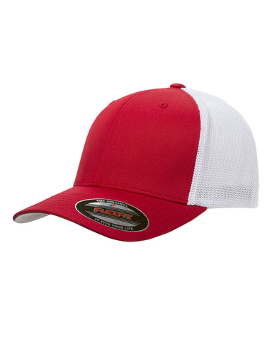 Red on White, Flexfit, 6-Panel, Trucker Hat