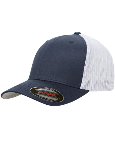 Navy on White, Flexfit, 6-Panel, Trucker Hat
