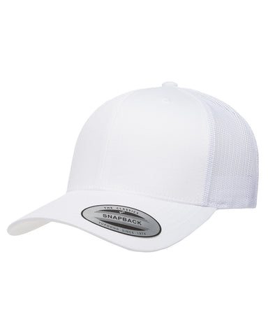 White on White, Retro Trucker Cap, 6 Panel, Mid-Profile, Snap Back