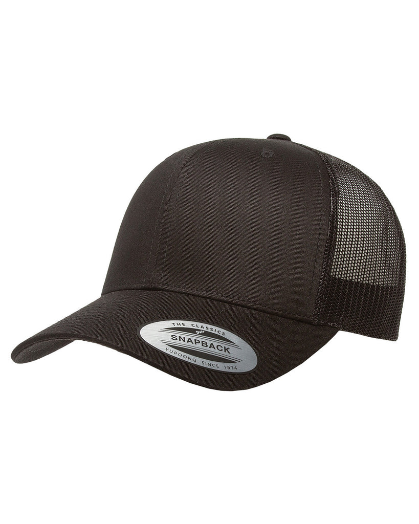 Black on Black Retro Trucker Cap, 6 Panel, Mid-Profile, Snap Back
