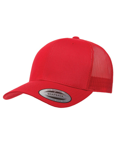 Red On Red, Retro Trucker Cap, 6 Panel, Mid-Profile, Snap Back