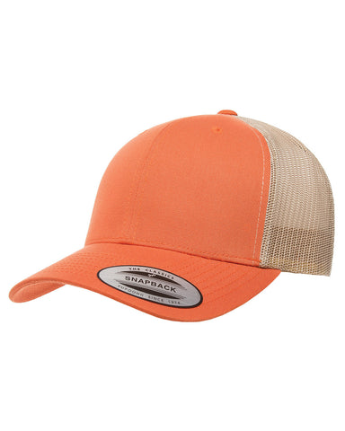 Rust on Orange, Retro Trucker Cap, 6 Panel, Mid-Profile, Snap Back