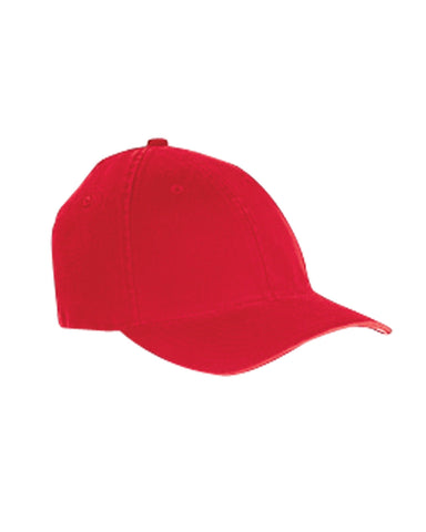 Red, Flexfit, Garment-Washed, Cotton, Cap