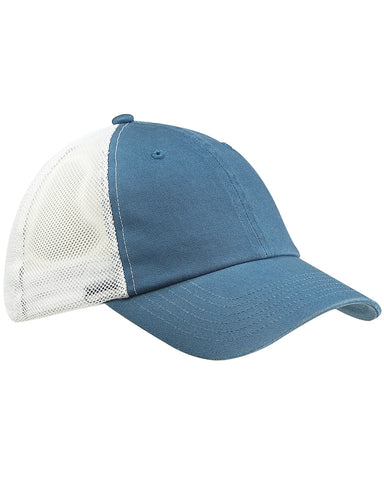 Indigo on White, Washed, Trucker, Snap Back, Hat