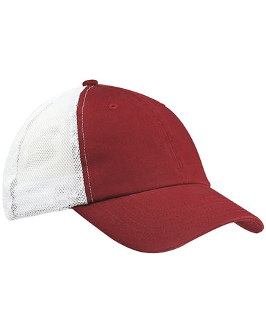 Maroon on White, Washed, Trucker, Snap Back, Hat