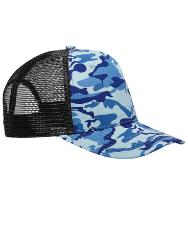 Water Camo on Black, Surfer, Trucker, Snap Back, Cap
