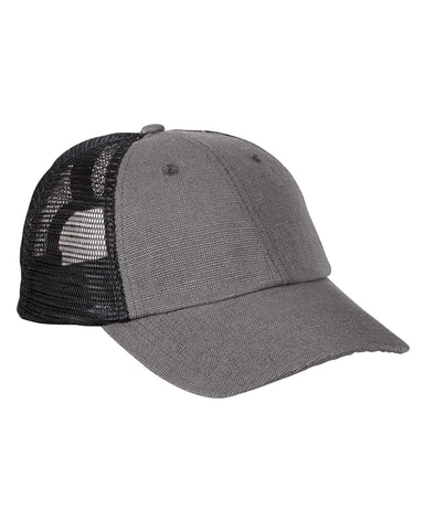 Charcoal Black on Oyster, Hemp, Washed, Soft Mesh, Trucker, Snap Back