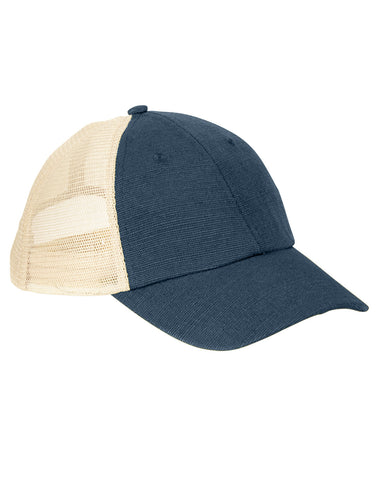 Navy on Oyster, Hemp, Washed, Soft Mesh, Trucker, Snap Back