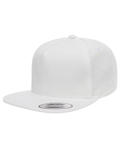 White 5-Panel Cotton Twill Snapback