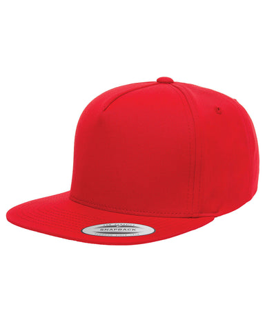 Red 5-Panel Cotton Twill Snapback: