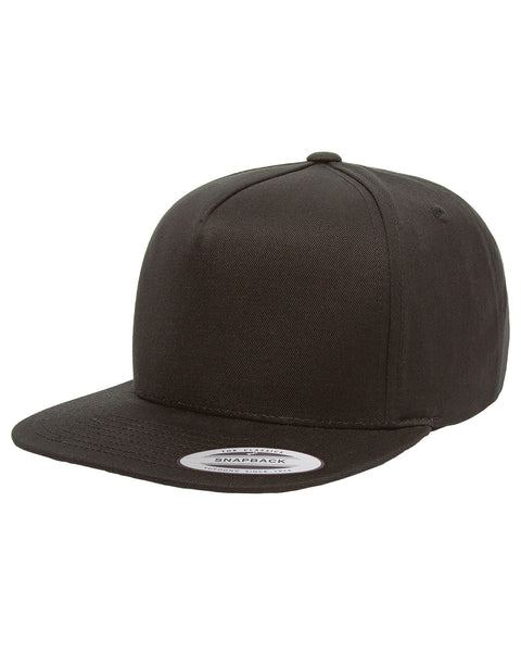 Black 5-Panel Cotton Twill Snapback