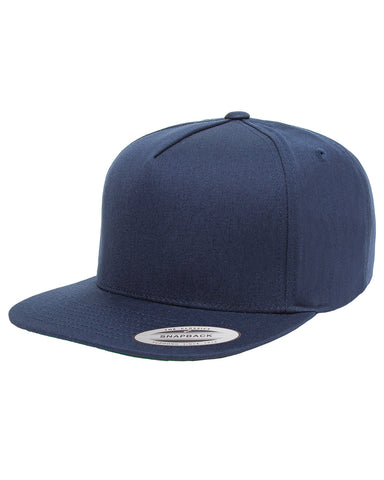 Navy 5-Panel Cotton Twill Snapback: