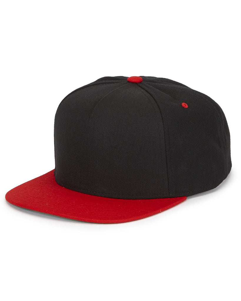 Red on Black 5 Panel Black Snap Back