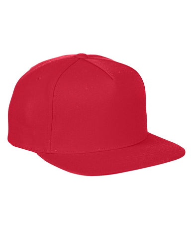 Red 5 Panel Snap Back