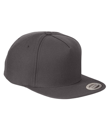 Dark Grey 5 Panel Black Snap Back