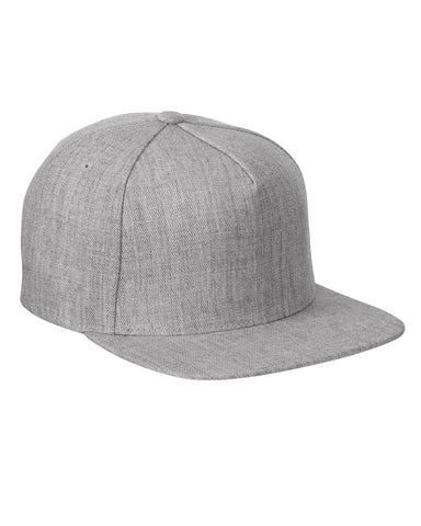 Heather Grey 5 Panel Black Snap Back