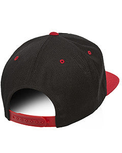 Red on Black, Yupoong, Classic, 5 Panel, Snap Back