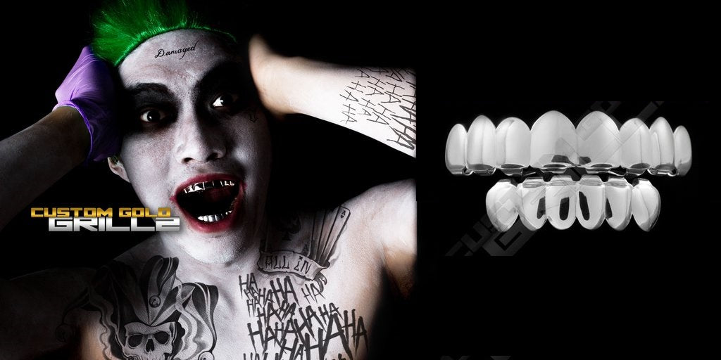 High quality silver grillz for your Joker costume!
