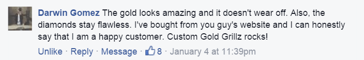 Custom Gold Grillz Facebook Testimonial by Darwin Gomez