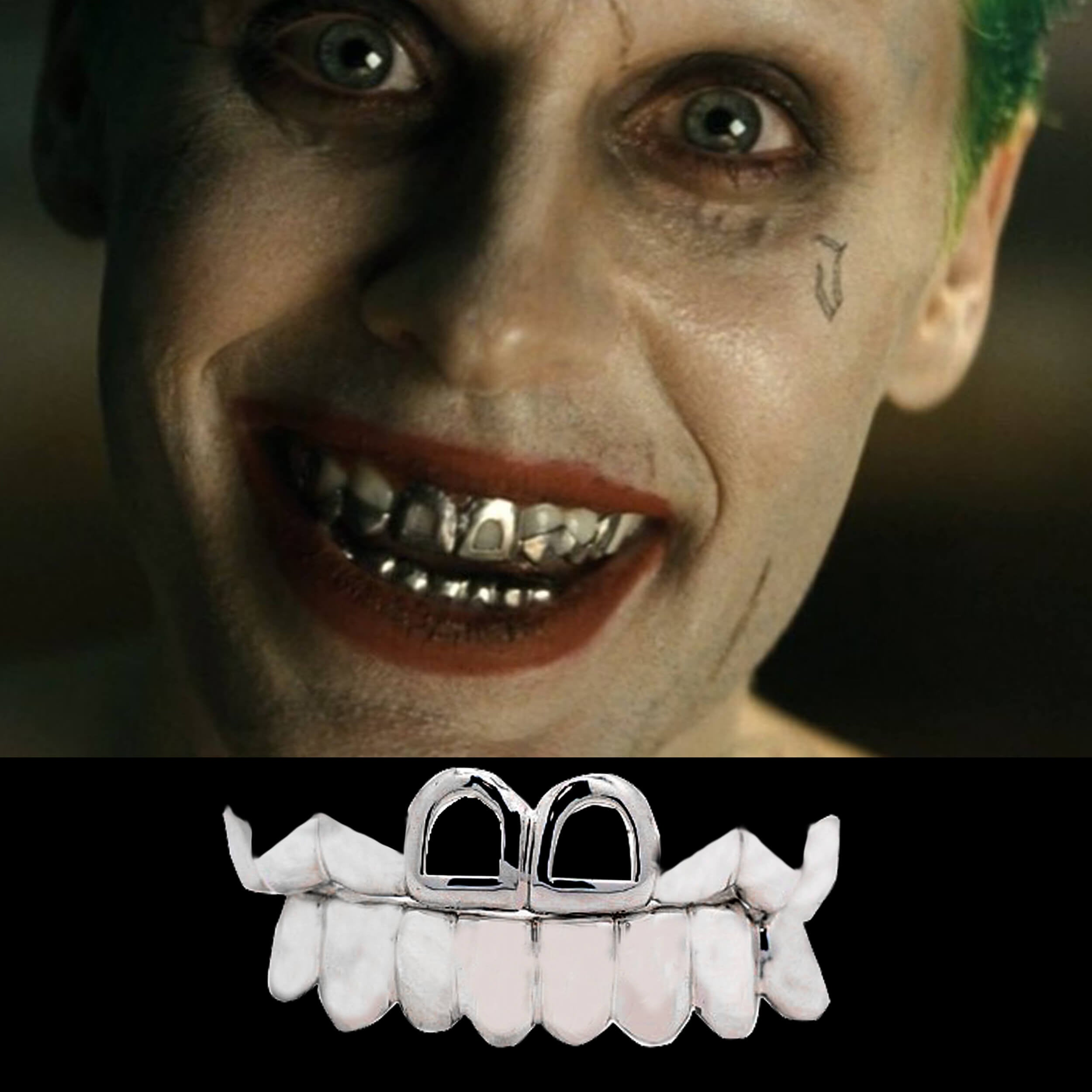 Custom Silver Teeth Joker Grillz from Suicide Squad