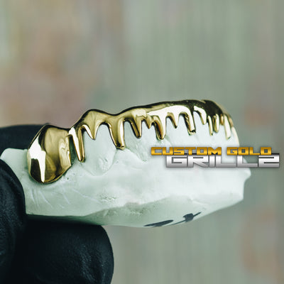 [CUSTOM-FIT] Solid Gold Drip Grillz