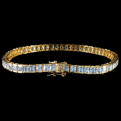 Princess Cut Tennis Bracelet in Yellow Gold