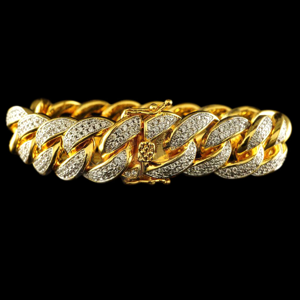 Diamond 2 Row Iced Cuban Link Bracelet in Yellow Gold