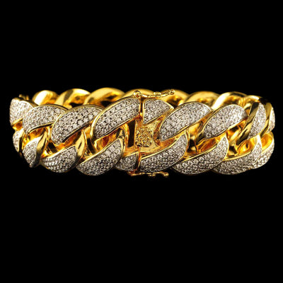 18mm Diamond 3 Row Iced Cuban Link Bracelet in Yellow Gold