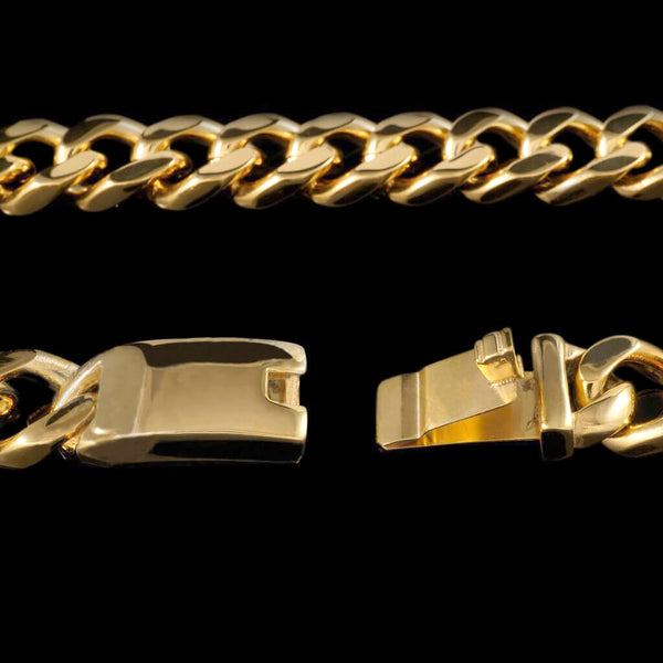 14mm Cuban Miami Chain Link in Yellow Gold