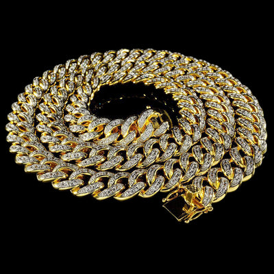 13mm Diamond Cuban Chain in Yellow Gold