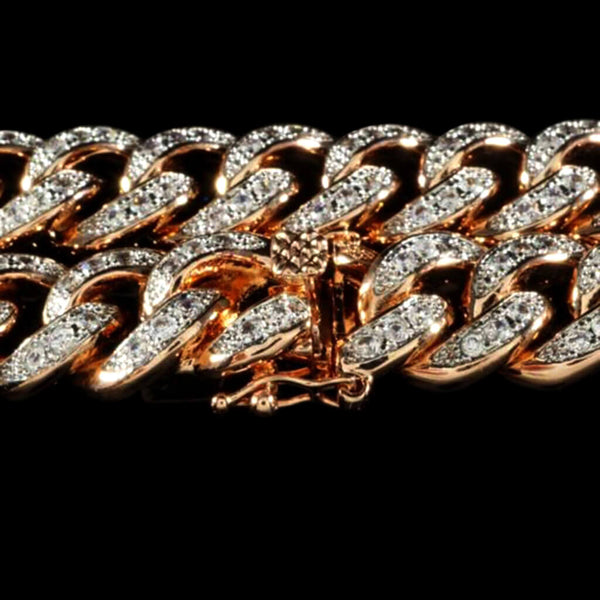 Diamond Cuban Link Bracelet in Rose Gold
