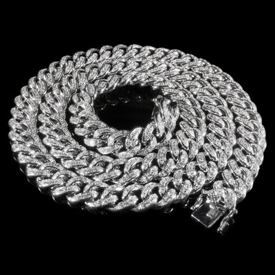 13mm Diamond Cuban Chain in White Gold