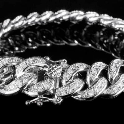 Diamond Cuban Link Bracelet in White Gold