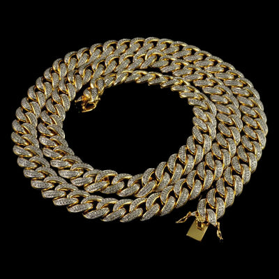 15mm Diamond 2 Row Miami Cuban Link Chain in Yellow Gold
