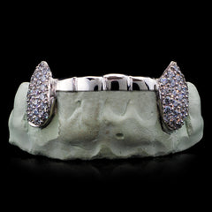 [CUSTOM-FIT]  Solid Iced 6 Teeth Connecting Bridge Grillz Bar