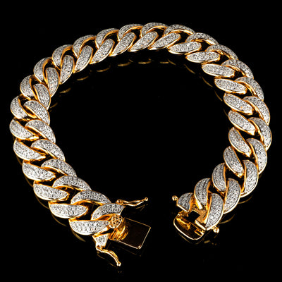 15mm Diamond 2 Row Iced Cuban Link Bracelet in Yellow Gold