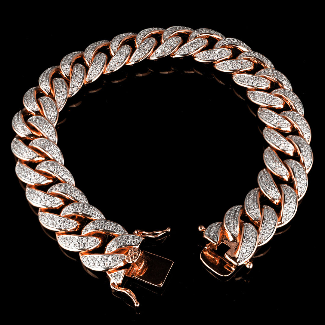 Diamond 2 Row Iced Cuban Link Bracelet in Rose Gold