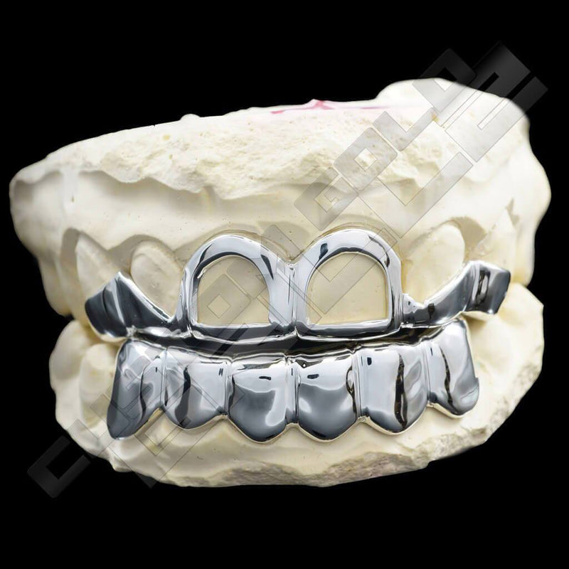 Solid Sterling Silver Teeth Joker Custom-Made Grillz Main with Joker on Background
