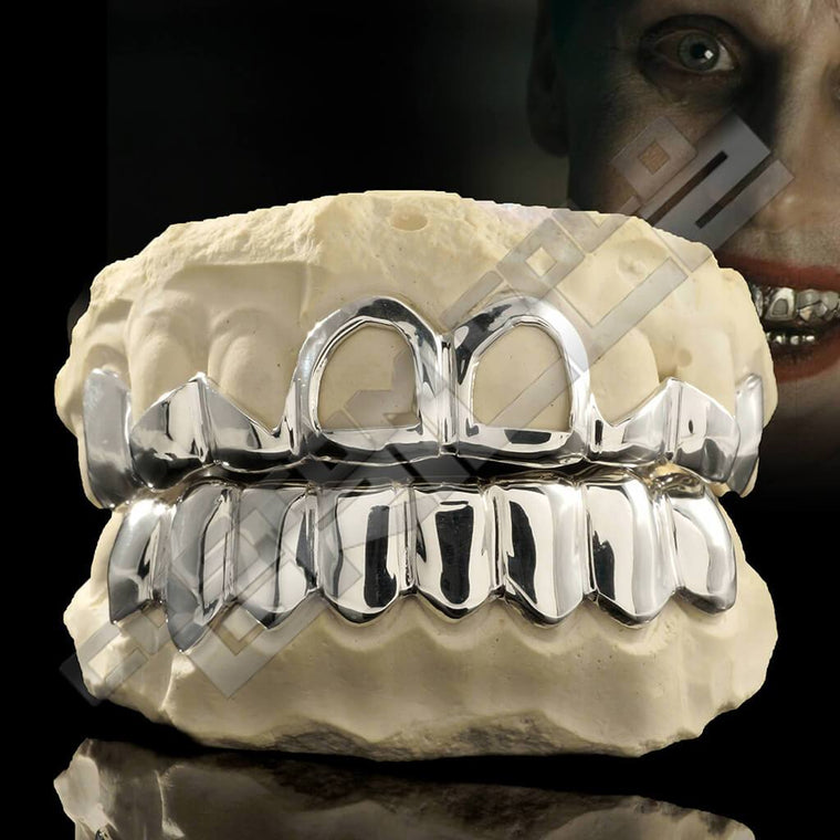 [CUSTOM-FIT] Solid Sterling Silver Teeth Joker Grillz