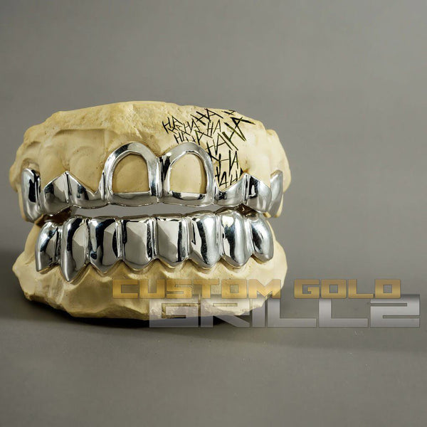 Solid Sterling Silver Teeth Joker Custom-Made Grillz including Logo on Creative Background