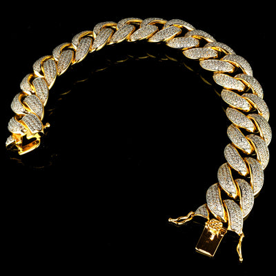 Diamond 3 Row Iced Cuban Link Bracelet in Yellow Gold